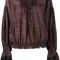 Chloé printed lace-trim blouse, women's, size: 36, red, silk/cotton