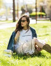 shoes,ist by ingrid,bag,blogger,jacket,sunglasses,t-shirt,jewels,skirt,denim jacket,boots,cowgirl boots