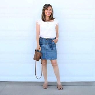 skirt mules tumblr bag bucket bag top blogger blogger style patchwork denim skirt