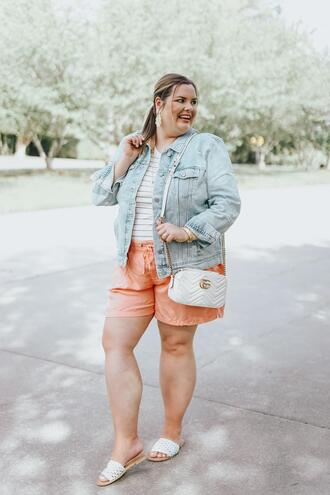 stylishsassy&classy blogger tank top shorts jacket shoes bag jewels gucci bag denim jacket spring outfits plus size slide shoes