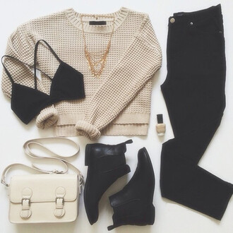 sweater cream cropped sweater waffle knit bag shoes coat tank top