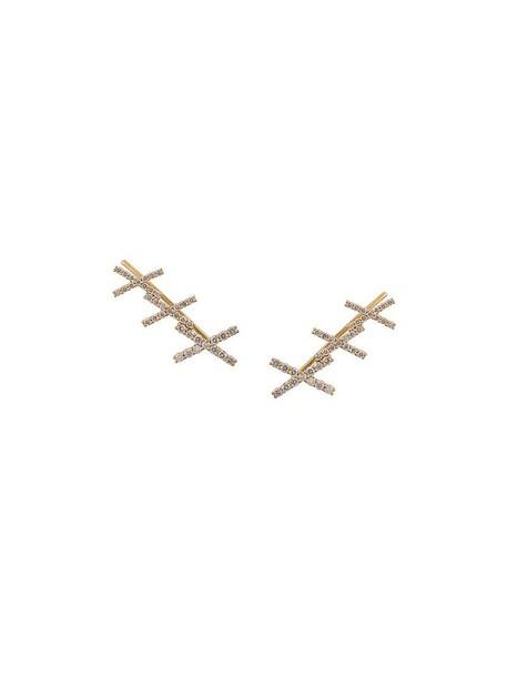Alinka cuff women earrings gold grey metallic jewels