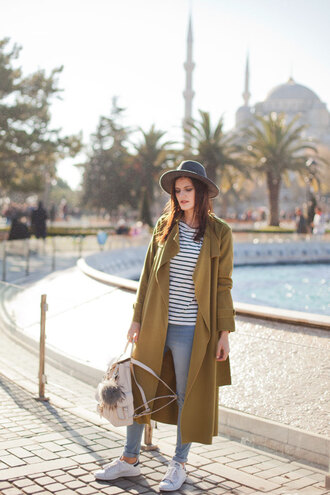 the bow-tie blogger top jeans hat felt hat sneakers striped top winter outfits fall outfits