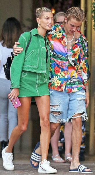 jacket hailey baldwin justin bieber mini skirt green denim denim jacket denim skirt streetstyle