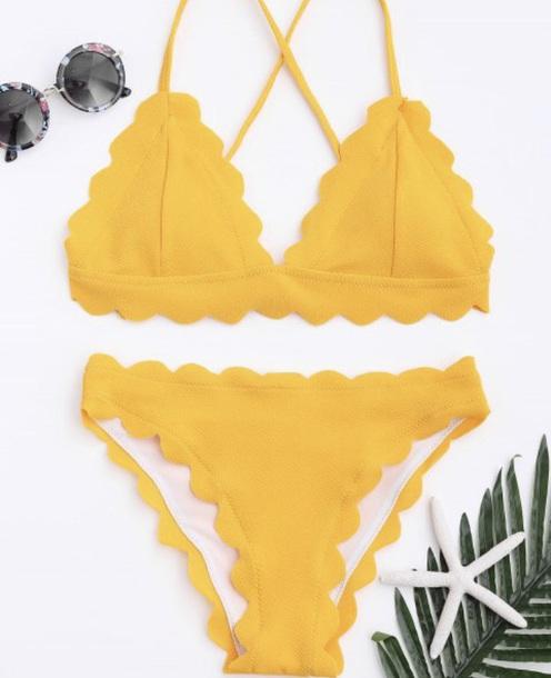 swimwear yellow swimwear two pice yellow bikini yellow swimwear yellow swimwear two piece bikini beach