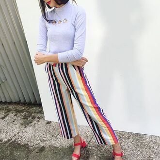 pants yeah bunny summer sun stripes striped pants loose colorful
