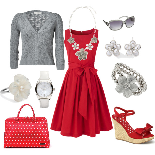 Red Dress With Grey And White Tones Polyvore