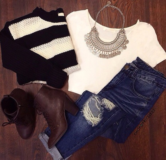 t-shirt jewels jeans sweater black white top necklace clothes ripped jeans stripes boots fall sweater fall outfits outfit