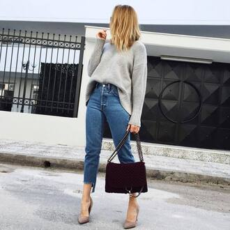 sweater tumblr grey sweater bag chain bag burgundy denim jeans blue jeans cropped jeans pumps pointed toe pumps high heel pumps fall outfits