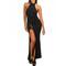 High neck front slit maxi dress | emprada