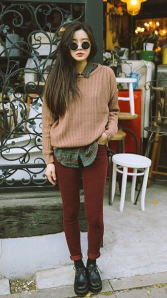 sweater flannel punk grunge jeans plaid green red creepers skinny jeans red jeans