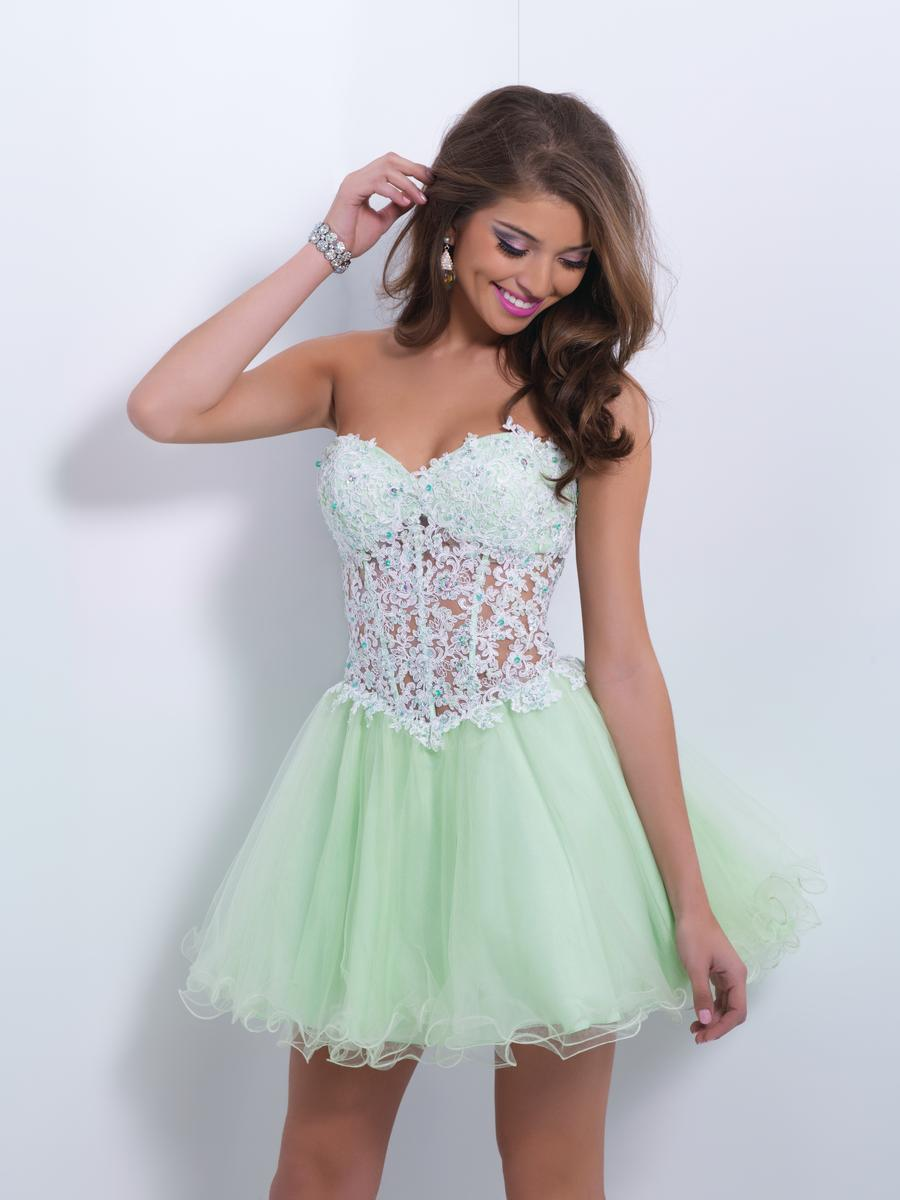 Blush 9869 Jeweled Lace Short Prom Dress