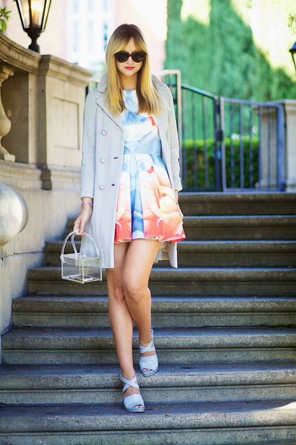 late afternoon dress coat bag shoes jewels sunglasses