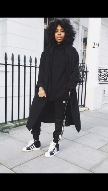 sweater all black everything coat pants shoes