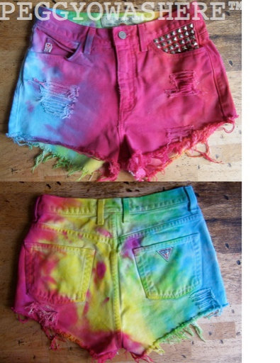 VTG Guess high waist cut off denim shorts vivid door PEGGYOWASHERE