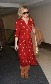 dress,midi dress,spring outfits,boots,kate hudson,shoes