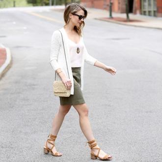 pennypincherfashion blogger skirt shoes jacket pants cardigan tank top bag jewels shoulder bag green skirt sandals spring outfits