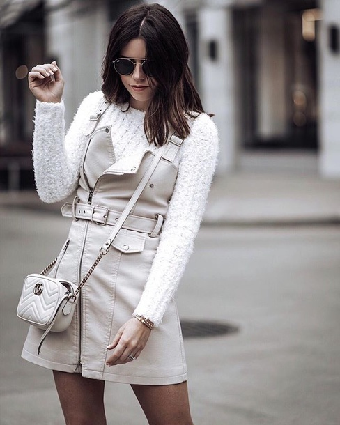 dress leather dress white sweater white bag white dress mini dress sweater bag white crossbody bag leggings