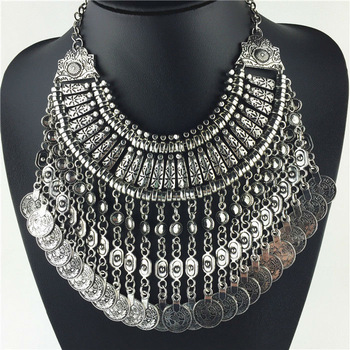 Aliexpress.com : Buy New Vintage American Brand Silver Vintage Round Zinc Coin Tassels Choker Shourouk statement necklace Collar women Jewelry from Reliable jewelry coin suppliers on Her Luxury Jewelry Store   Alibaba Group