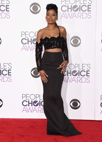 skirt high waisted maxi skirt black all black everything top crop tops lace top lace keke palmer two piece dress set off the shoulder hairstyles red carpet dress gown prom dress people's choice awards