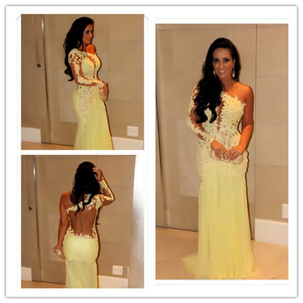 yellow lace dress formal dress formal backless prom dress