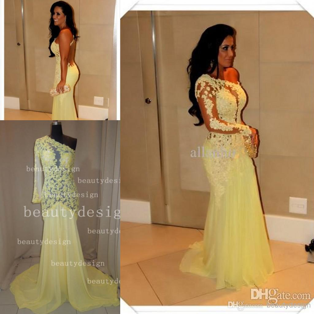 Buy gorgeous sexy yellow chiffon mermaid prom dresses sweep train lace one shoulder backless long sleeve formal evening red carpet gowns as635, $107.44