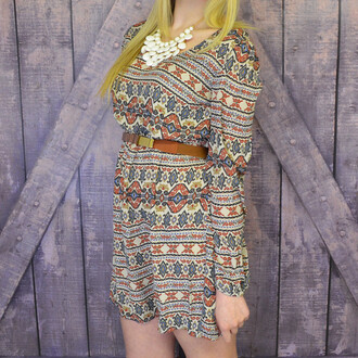 dress khaki long sleeve tribal pattern a line pretty open back spring style versatile