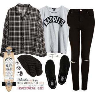 baddies jeans skateboard luke hemmings blouse jacket shirt hat pants ripped black skinny jeans luke hemmings black and white plaid style