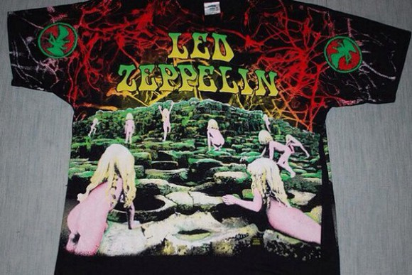 t-shirt led zeppelin vintage 70s bands tie dye hippie band tee retro