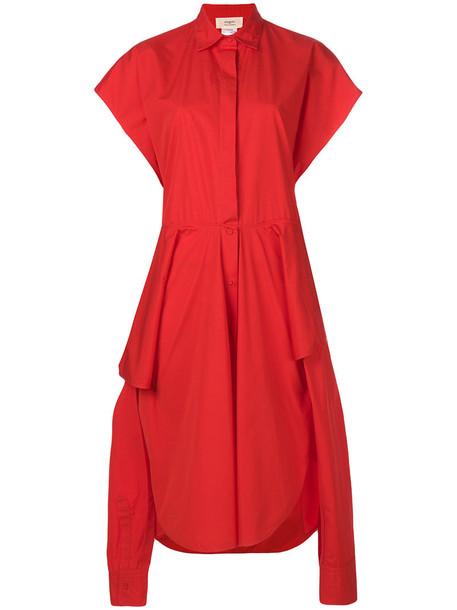 PORTS dress shirt dress oversized women cotton red