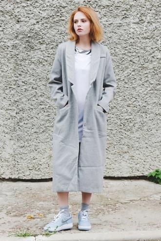 kristina magdalina blogger coat dress fall coat long coat grey long coat