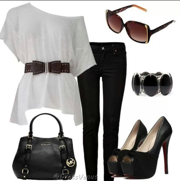 black pants shirt white dressy shirt purse