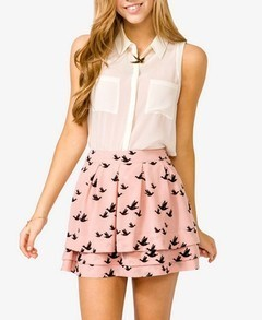 PINK BIRD PRINT SKIRT on The Hunt