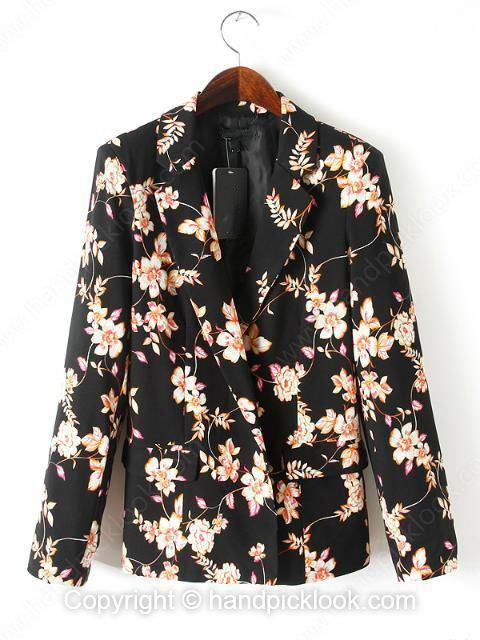 Black lapel long sleeve floral print blazer
