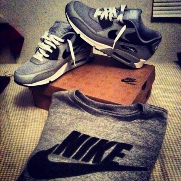 shoes nike air max 90 grey black white laces sweater