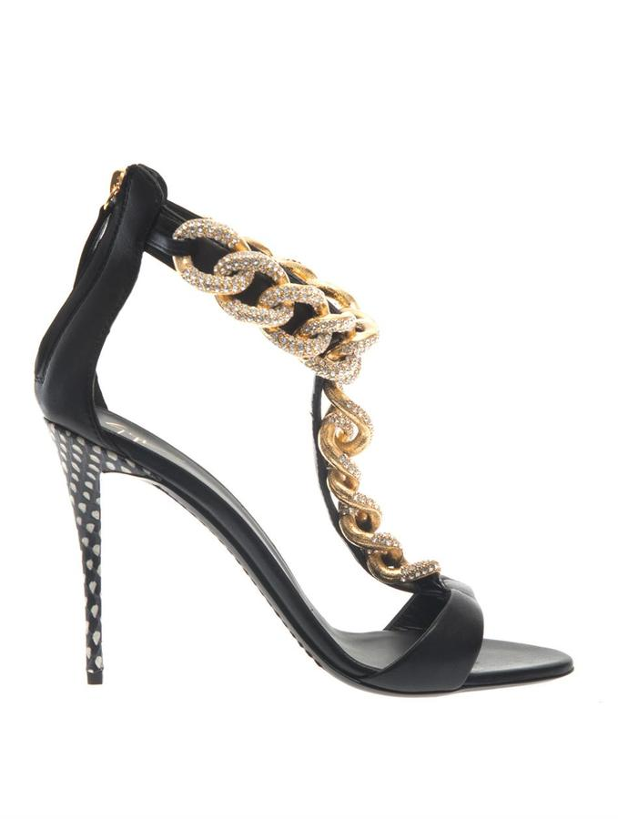 Giuseppe Zanotti Coline crystal-chain leather sandals - ShopStyle