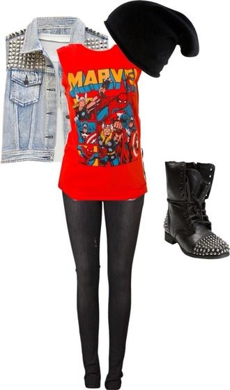 blouse red marvel shirt jacket pants hat shoes