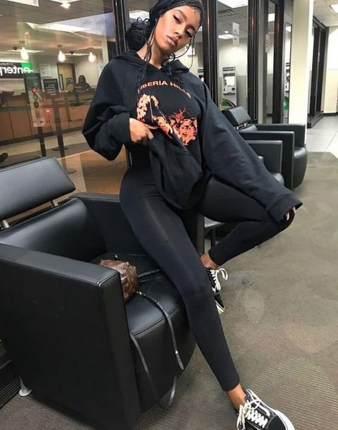 sweater black hoodie sweatshirt graphic tee long sleeves leggings