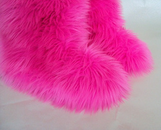 slippers faux fur pink fluffy