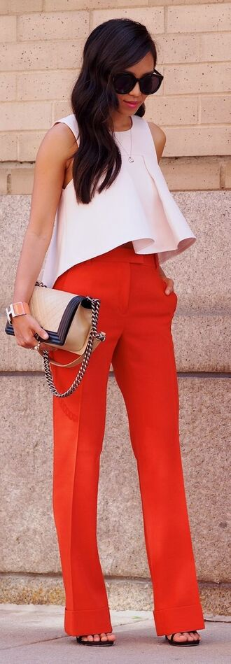 pants flare top red pants high waisted pants top white top bag nude bag summer outfits preppy sunglasses black sunglasses shoulder bag gold bag