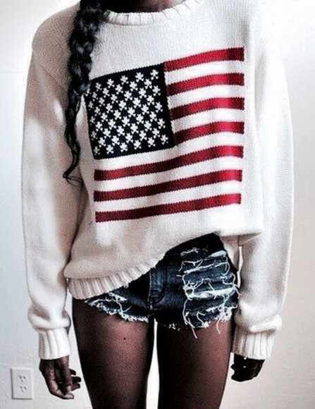 white sweater american flag red stars and stripes