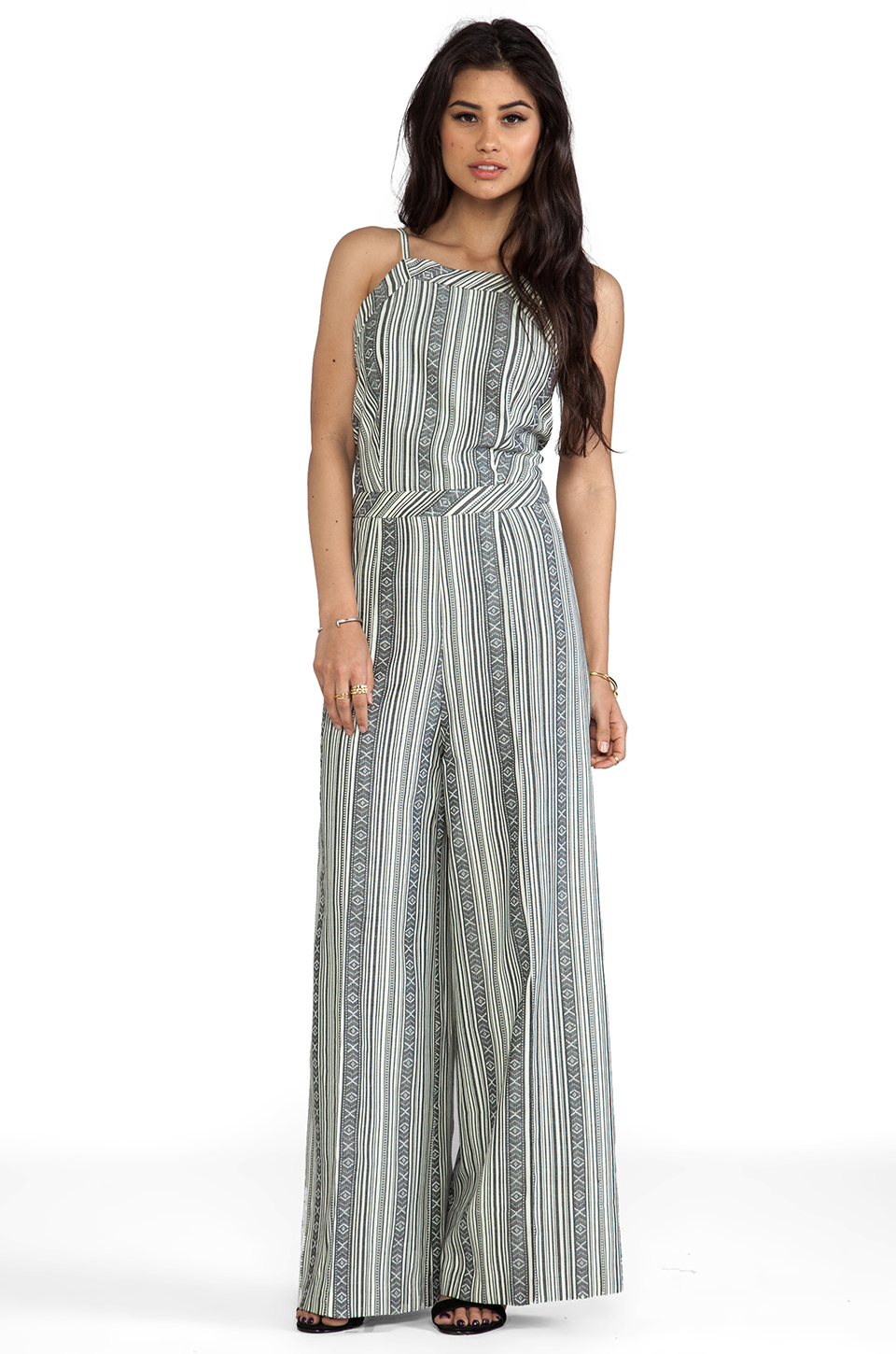Line & Dot Deep V Jumpsuit in Mojave Stripe from REVOLVEclothing.com