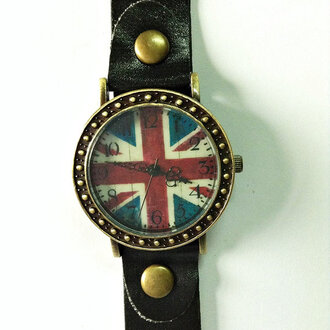 fashion jewels watch accessories vintage style leather watch british flag