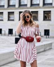 bag,dress,stripes,short dress,belt bag,gucci ba,gucci bag