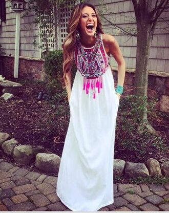 dress maxi maxi dress white multicolor ethnic bohemian summer sleeveless sleeveless dress leggings