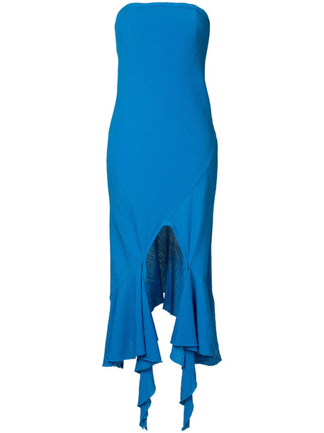KITX dress strapless dress strapless women cotton blue silk