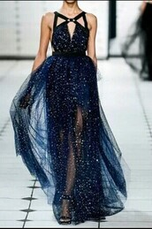dress,blue dress,navy,gorgeous,evening dress,elie saab,prom dress,long dress,long prom dress,cute dress,star pattern,navy dress