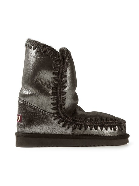 Mou women leather grey metallic shoes