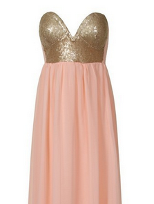 Peach Coral Maxi Bustier Dress