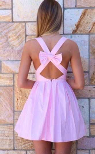 dress pink weheartit tumblr summer summer dress short dress pink dress mini dress cotton bow crossed back cute dress short purple dress circle skirt dress bow dress bow back dress skater dress backless dress open back dresses